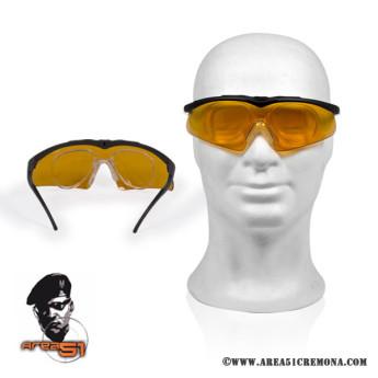Occhiale balistico per tiro dinamico lente arancio