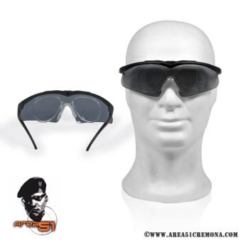 Occhiale balistico per tiro dinamico con lente fume'